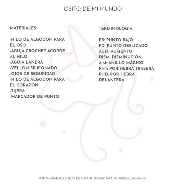 Patrón del Osito Amoroso en castellano